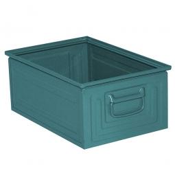 Stapelkasten ST3 aus Stahlblech, 25 Liter, LxBxH 450 x 300 x 200 mm, blaugrün
