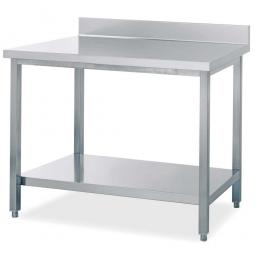 Edelstahl-Arbeitstisch, LxB 1000 x 700 mm, Arbeitsplatte mit Aufkantung, mit Ablageboden