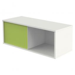 Aufsatzschrank, 1 Ordnerhöhe, Front weiß/grün, BxTxH 1000 x 400 x 360 mm