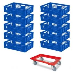 10x Euro-Stapelbehälter + 1 Transportroller GRATIS, Farbe blau, LxBxH 600 x 400 x 150 mm