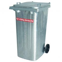 Müllbehälter, 240 Liter, Stahl feuerverzinkt, HxBxT 1060x580x730 mm, öldicht geschweißt