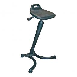 Stehhilfe, Gestell aus Stahlrohr, schwarz, Sitz aus strapazierfähigem PU-Schaum, mit Griff