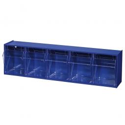 """Kleinteilemagazin """"Blue"""" mit 5 Klarsichtboxen, Set 3, BxHxT 600 x 165 x 135 mm, Behälter je BxTxH 99 x 107 x 97 mm"""