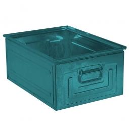 Stapelkasten ST0 aus Stahlblech, 80 Liter, LxBxH 630 x 450 x 300 mm, blaugrün