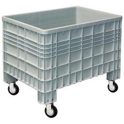 Palettenbox mit Außenrippen und 4 Rollen, Außenmaße LxBxH 1200 x 800 x 950 mm, grau