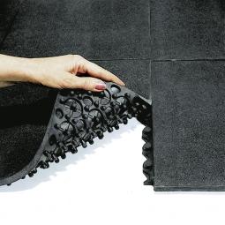 Arbeitsplatzmatte, Oberfläche geschlossen, LxBxH 900x900x16 mm, Nitril-Gummimischung, schwarz