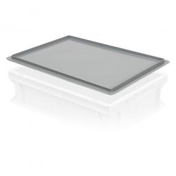 Auflagedeckel für Euro-Stapelbehälter, LxB 400x300 mm, grau, Gewicht 450 g
