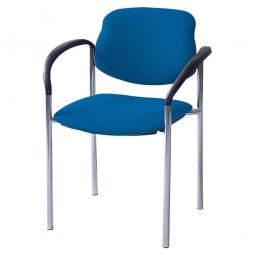 Besucherstuhl mit Armlehnen, Gestell verchromt, Polster marineblau, stapelbar, BxTxH 500x550x820 mm