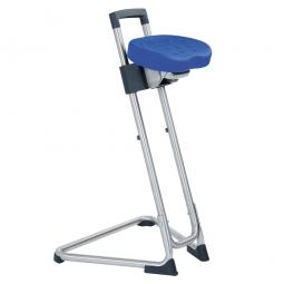 Edelstahl-Stehhilfe, Sitzhöhe: 600-850 mm, Sitz- u. Rückenlehne aus Polyurethanschaum, blau