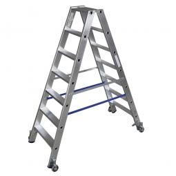 Alu-Stufen-Doppelleiter mit 2x 7 Stufen, fahrbar, Leiterhöhe 1650 mm, max. Arbeitshöhe 3400 mm, Gewicht 9,3 kg
