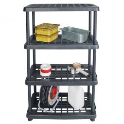 Kunststoffanbauregal mit 4 Böden, Stecksystem, BxTxH 810 x 390 x 1360 mm