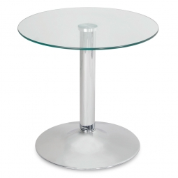 Beistelltisch, H 480 mm, Ø 500 mm, Tischplatte aus Sicherheitsglas