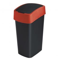 Abfallbehälter mit Schwing- oder Klappdeckel, PP, BxTxH 376x294x653 mm, Inhalt 50 Liter, schwarz/rot