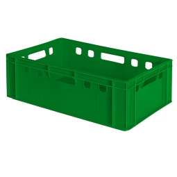 Eurobehälter E2, 4 Durchfassgriffe, LxBxH 600 x 400 x 200 mm, 40 Liter, grün