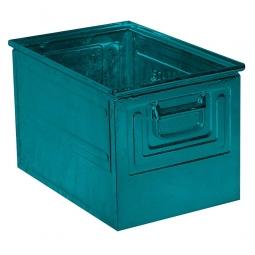 Stapelkasten ST2 aus Stahlblech, 39 Liter, LxBxH 450 x 300 x 300 mm, blaugrün
