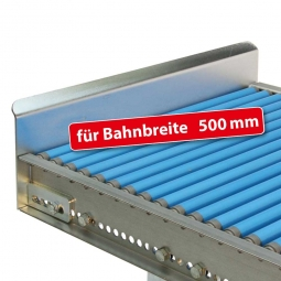 Endanschlag aus Stahlblech für Bahnbreite: 500 mm, Fest verschraubte Ausführung, Oberfläche glanzverzinkt