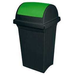Schwingdeckel-Abfallbehälter grün/anthrazit, LxBxH 430 x 390 x 760 mm, 50 Liter, Polypropylen-Kunststoff
