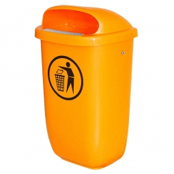 Abfallbehälter nach DIN 30713, 50 Liter, orange, BxTxH 430x330x745 mm, Polyethylen-Kunststoff (PE-HD)