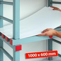 Kunststoff-Einlegeboden, BxT 1000 x 600 mm, Stärke: 2 mm, Farbe: weiß