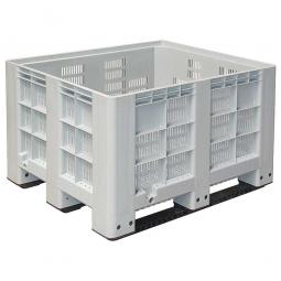 Großbox / Großbehälter mit 3 Kufen, 610 Liter, LxBxH 1200 x 1000 x 760 mm, Boden/Wände durchbrochen, grau