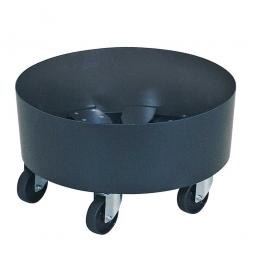 ABS-Kunststoff-Tonnenroller, verzinkte Lenkrollen, und 5 schwarze Kunststoffräder Ø 75 mm. Tragkraft 100 kg.