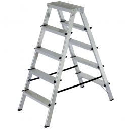 Alu-Doppelleiter mit 2x 5 Stufen, max. Arbeitshöhe 3080 mm