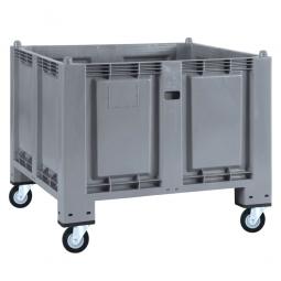 Palettenbox mit 4 Gummi-Lenkrollen Ø 120 mm, grau, 1200 x 800 x 1000 mm, Boden/Wände geschlossen