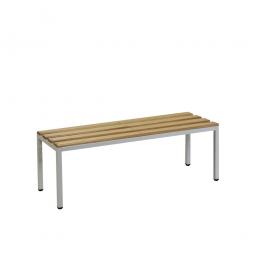 Sitzbank, BxTxH 1000 x 390 x 410 mm, Gestell RAL 7035 lichtgrau, Sitzfläche aus Naturholz