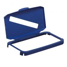 Klappdeckel für Abfall- und Wertstoffbehälter, Deckel mit Einwurfschlitz, Rahmen mit Scharnier