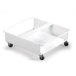 Doppel-Fahrwagen für Abfall- und Wertstoffbehälter, LxBxH 540x480x180 mm, aus weißlackiertem Metall