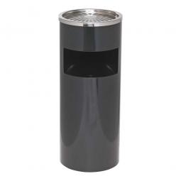 Abfallbehälter mit Ascher, ØxH 250 x 610 mm, 40 Liter, schwarz
