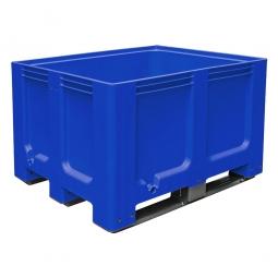Großbox / Großbehälter mit 3 Kufen, 610 Liter, LxBxH 1200 x 1000 x 760 mm, Boden/Wände geschlossen, blau