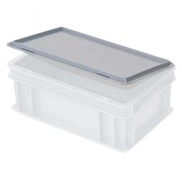 Scharnierdeckel für Euro-Stapelbehälter, 300 x 200 mm, Farbe grau, Gewicht 0,15 kg