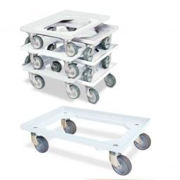 7er-Set Transportroller 600x400 mm, offenes Deck, 4 Lenkrollen, graue Gummiräder, weiß