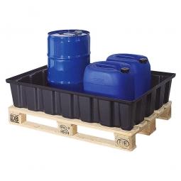 Sicherheits-Auffangwanne aus schwarzem Kunststoff, LxBxH 1230x830x260 mm, Tragkraft 500 kg