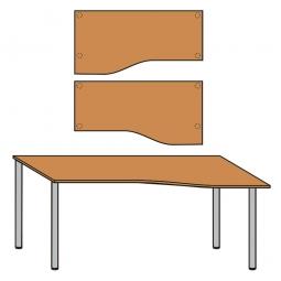 EDV-Tisch mit Quadratrohr-Füßen, Farbe silber, Buche, BxTxH 1800x800/1000x680-760 mm