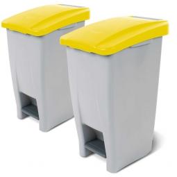 Spar-Set, 2x 60 Liter Tret-Abfallbehälter, BxTxH 380 x 490 x 700 mm, Deckelfarbe gelb