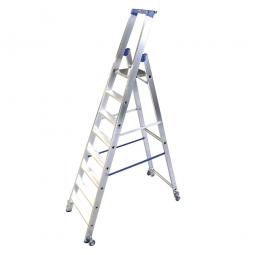 Alu-Stufenleiter mit 8 Stufen, fahrbar, Standhöhe 1900 mm, max. erreichbare Arbeitshöhe 3900 mm