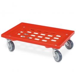 Transportroller für 600 x 400 mm Eurobehälter, Gitterdeck, mit 4 Lenkrollen und grauen Gummirädern, Tragkraft 250 kg, rot