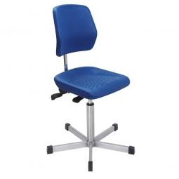 Edelstahl-Arbeitsdrehstuhl, Sitz- u. Rückenlehne aus Polyurethanschaum, schwarz