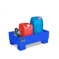Auffangwanne für 60 Liter Fässer ohne Gitterrost, LxBxH 800 x 500 x 290 mm, Volumen: 65 Liter, blau RAL 5012
