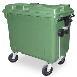 Müllbehälter, 660 Liter, nach EN 840-6, grün, BxTxH 1360 x 765 x 1235 mm, Polyethylen (PE-HD)