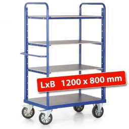 Hoher Etagenwagen mit 3 Böden/4 Ladeflächen, LxBxH 1390 x 800 x 1800 mm, Tragkraft 1200 kg