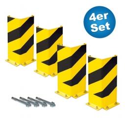 4er-Set Anfahrschutz, 400 mm hoch, Schenkelbreite 160 mm, als Schutz für Regalrahmen