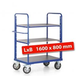 Etagenwagen mit 2 Böden/3 Ladeflächen, LxBxH 1790x800x1500 mm, Tragkraft 1200 kg