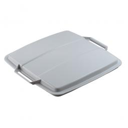 Deckel für Abfall- und Wertstoffbehälter 90 Liter, mit Griffen für leichtes Abnehmen, eckig, grau