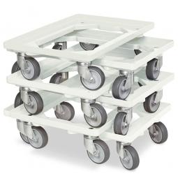 6x Transportroller im Spar-Set, Farbe weiß, für Kästen, Körbe, Kartons 600 x 400 mm