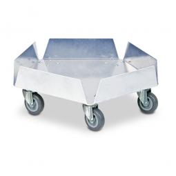 Edelstahl-Tonnenroller mit Edelstahl-Lenkrollen, und 5 Rädern Ø 75 mm mit grauer Polyurethanlauffläche