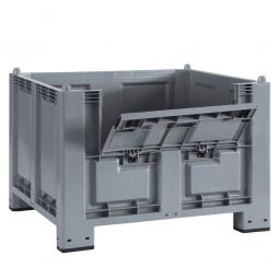 Palettenbox mit 4 Füßen u. Kommissionierklappe, grau, 1200 x 800 x 850 mm, Boden/Wände geschlossen