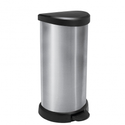 Tretabfalleimer, 40 Liter, HxBxT 697x349x309 mm, Deckel schwarz, Korpus silber
